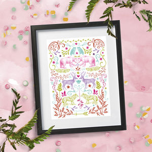 Summer Fiesta Animal Folk Style A4 Print
