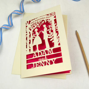 Personalised Papercut Couple Wedding Date Card - wedding cards