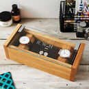 Personalised Etched Glass Cufflinks And Watch Box