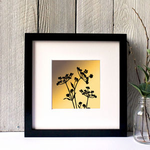 Cow Parsley Silhouette Framed Giclee Print - canvas prints & art