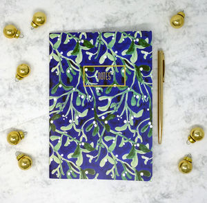 Midnight Mistletoe Print A5 Notebook