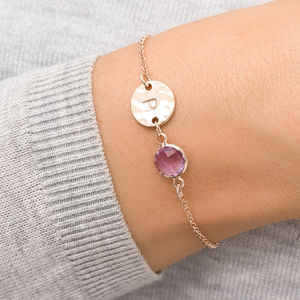 Personalised Hammered Initial Birthstone Bracelet