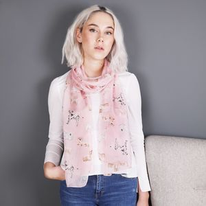 Watercolour Dogs Silk Skinny Scarf - fashion sale