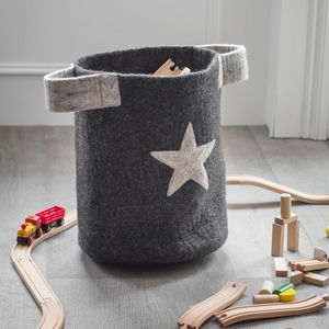 Handmade Felt Basket With Star - bedroom