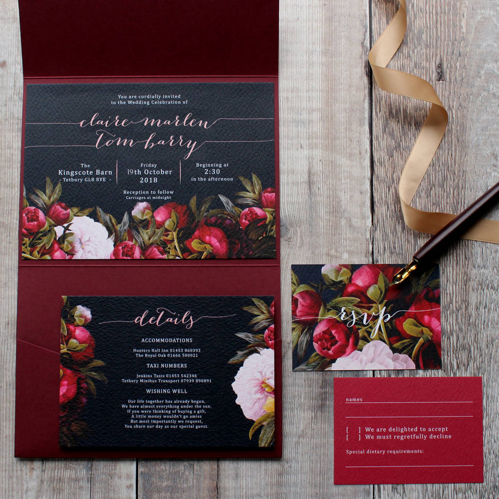 dark bohomian wedding invitation suite by vanilla retro stationery ...