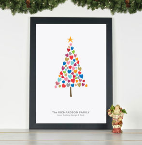 'Christmas Tree Of Hearts' Family Personalised Print