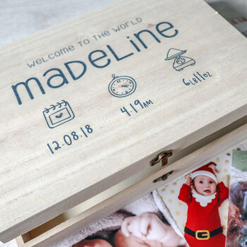 Personalised New Baby Wooden Keepsake Box