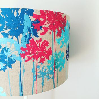 Metallic Blues And Bright Red Floral Print Lampshade