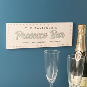 Personalised Wooden Prosecco Bar Sign - room decorations