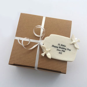 Handmade Porcelain Wedding Gift Tag With Doves