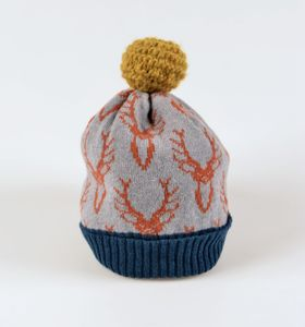 Knitted Lambswool Stag Bobble Hat Dark Colours - hats