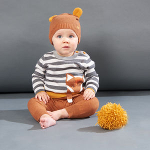 Lorek Stripe Fox Knitted Baby Jumper - cosy clothing