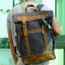 Large Fold Top Waxed Canvas And Leather Backpack