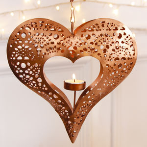 Copper Hanging Heart Tea Light Holder