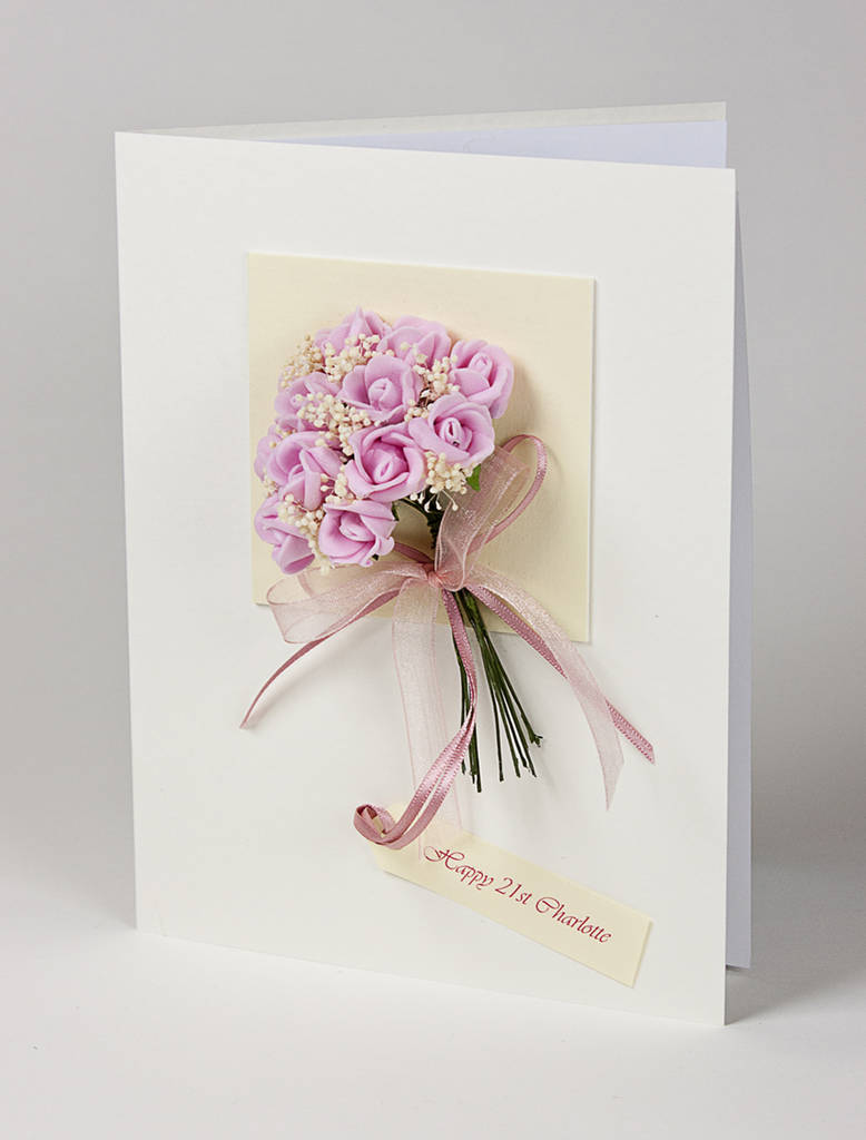 Personalised Rose Bouquet 3d Greetings Card By Karrie