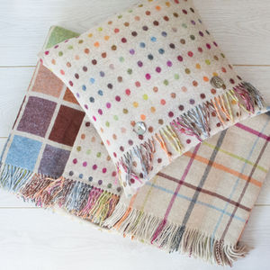 Merino Beige Multi Throw And Cushion Range - throws, blankets & fabric