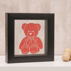 Personalised Teddy Bear Mini Papercut - nursery pictures & prints