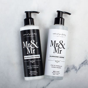 Personalised Mr And Mr Hand Wash And Lotion Gift