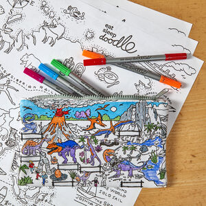 Dinosaur Pencil Case Kit + 10 Pens, Colour And Learn