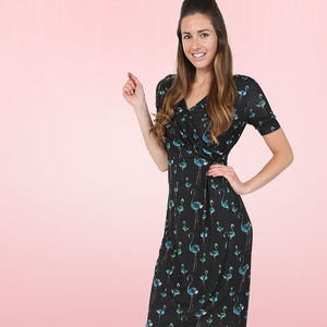 Flamingos By Night Jersey Sarong Wiggle Dress
