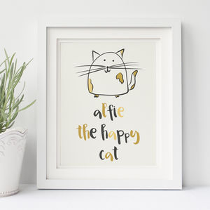 Personalised Happy Cat Wall Print - posters & prints