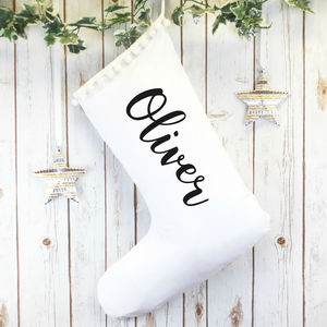 White Personalised Christmas Stocking With Name