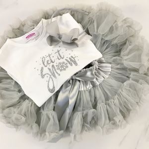 Soft Grey Sparkle And Shimmer 'Let it Snow' Gift Set - children's skirts