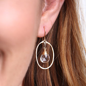 Crystal Oval Hoops
