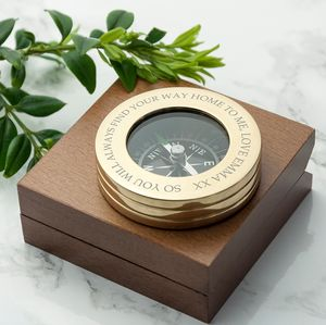 Personalised Adventures Compass With Monogram Box