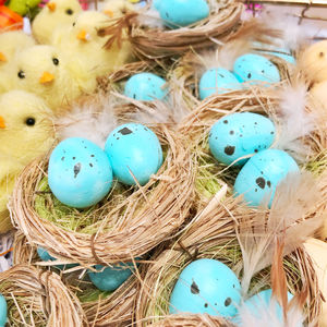 Light Blue Artificial Egg Bird Nest