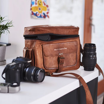 Personalised Leather Camera Bag
