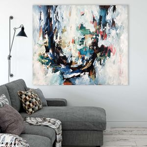 Original Blue Abstract Art Painting - paintings