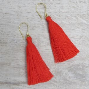 Colourful Summer Cotton Tassel Earrings
