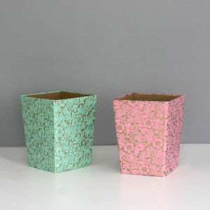 Recycled Gold Floral Waste Paper Bin Medium - bins & buckets