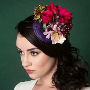 Berries Fascinator In Purple - hair accessories