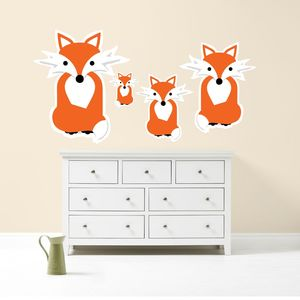 Fox Family Wall Sticker Art - home decorating