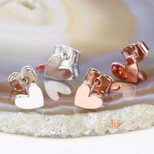 Tiny Shiny Heart Stud Earrings - earrings