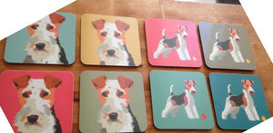 Fox Terrier Head Coasters - placemats & coasters