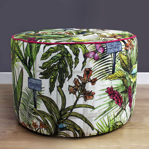 Tropical Botanical Pouffe Footstool - furniture