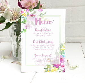 Wedding Menu In Watercolour Floral - what's new