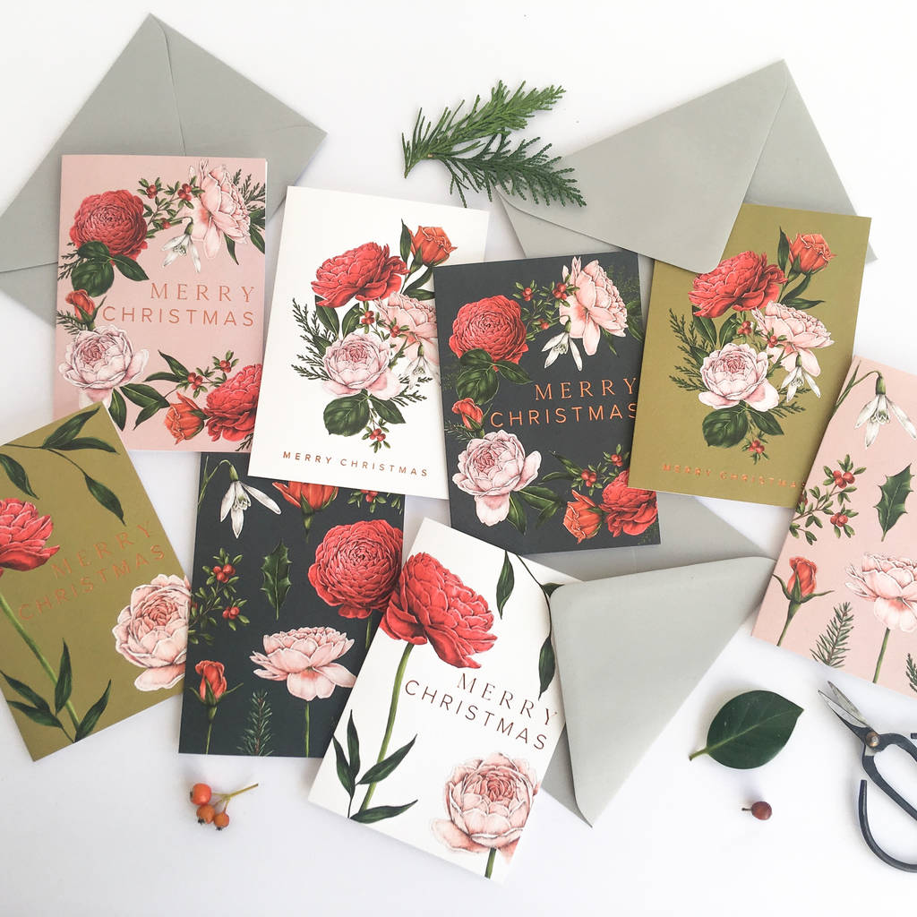box of eight botanical christmas cards berry roses by catherine ...
