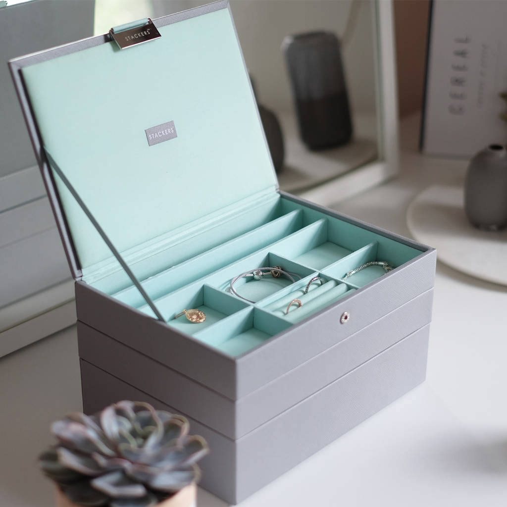 Dove Grey With Mint Clic Jewellery Box Storage Trinket Bo