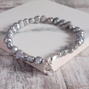 Freshwater Silver Pearl Bracelet Personalised Charm - bracelets & bangles