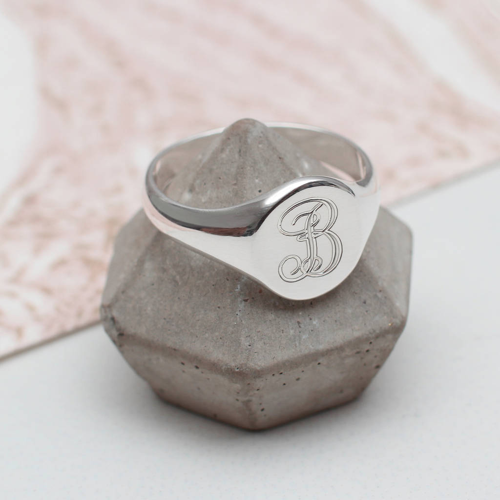 Ladies Sterling Silver Monogram Signet Ring by Hurleyburley