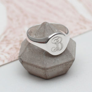 Ladies Sterling Silver Monogram Signet Ring - rings