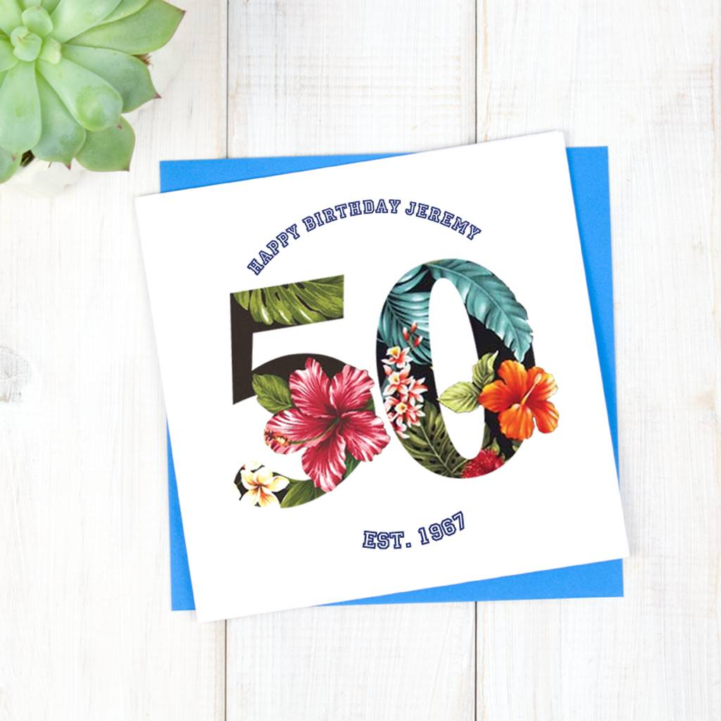 Personalised hawaiian mens 50th birthday card by chi chi moi personalised hawaiian mens 50th birthday card bookmarktalkfo