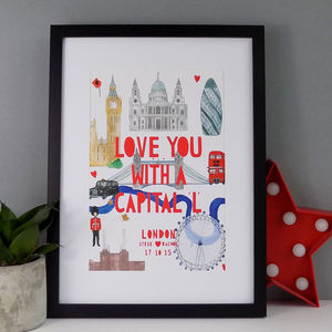 Personalised London Landmark Papercut Print