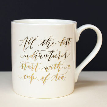 Gold Calligraphy Mug Adventures