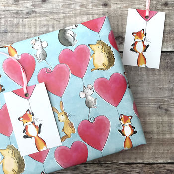 Fox And Friends Hearts Wrapping Paper