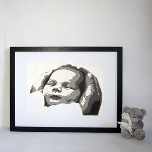 Personalised New Baby Portrait Layered Papercut